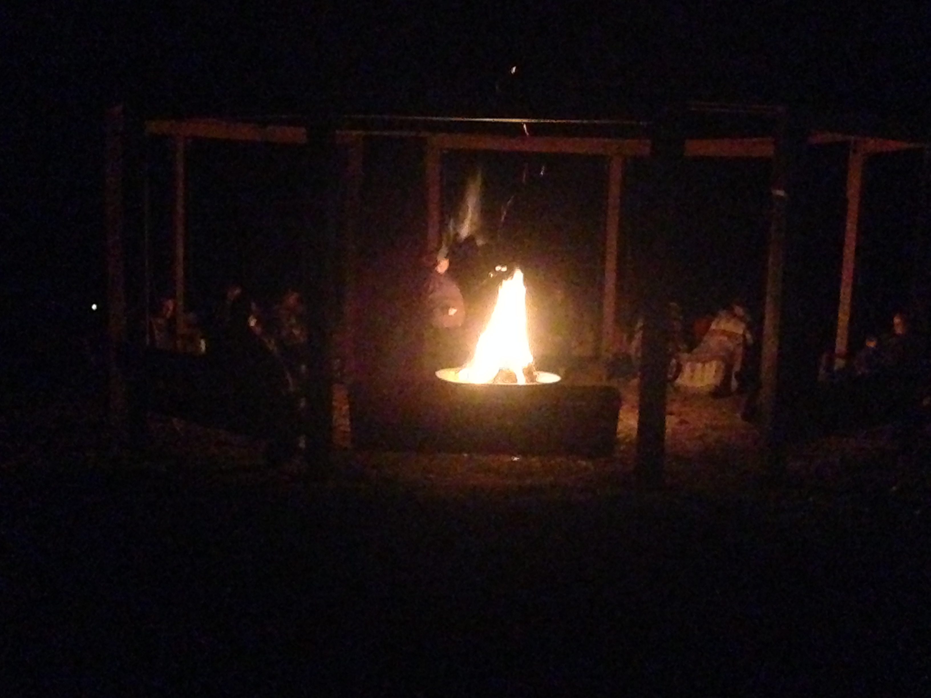 A campfire at the staff retreat